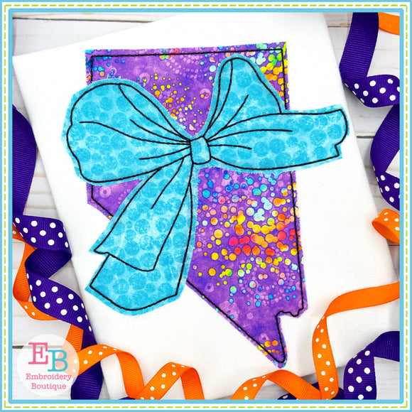 Big Bow Nevada Bean Stitch Applique, Applique