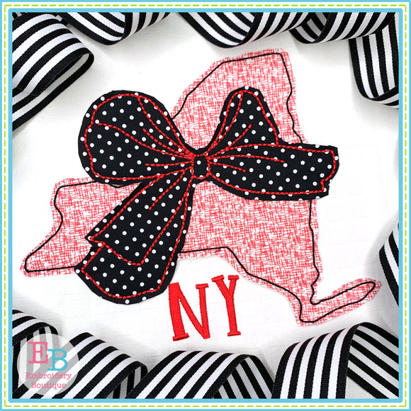 Big Bow New York Bean Stitch Applique, Applique