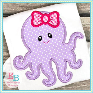 Octopus Bow Applique - Embroidery Boutique