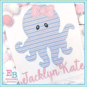 Octopus Bow Blanket Stitch Applique - Embroidery Boutique