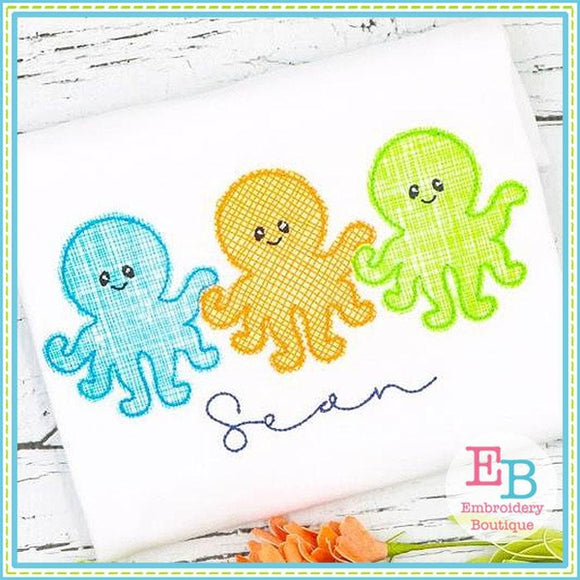 Octopus Boy Trio Bean Stitch Applique, Applique