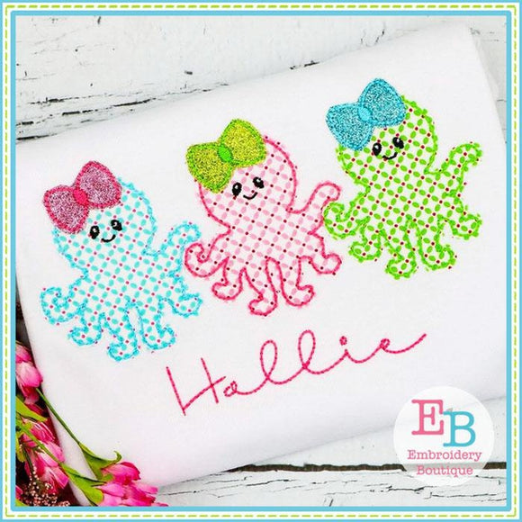 Octopus Girl Trio Bean Stitch Applique - embroidery-boutique