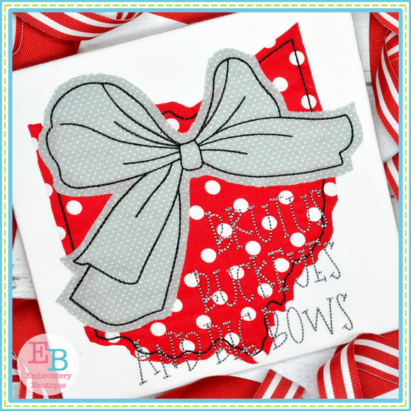 Big Bow Ohio Bean Stitch Applique, Applique