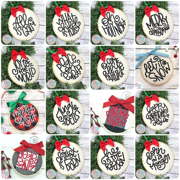 Christmas Ornament Embroidery Design Bundle