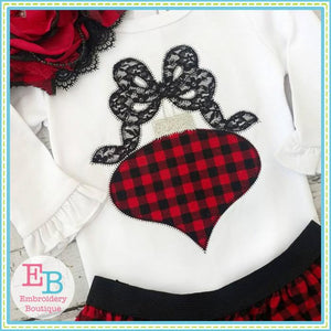Ornament Bow Zigzag Applique - embroidery-boutique