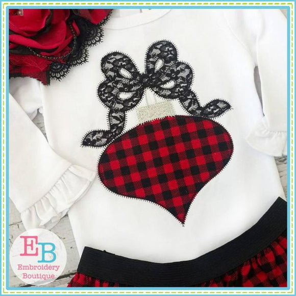Ornament Bow Zigzag Applique, Applique