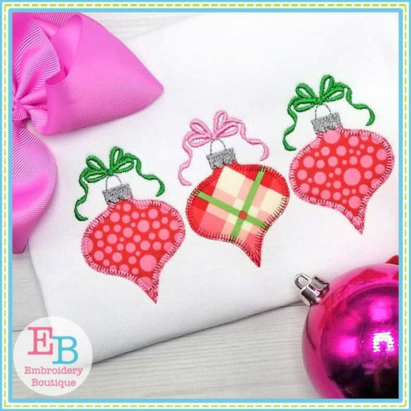 Ornament Blanket Stitch Trio Applique, Applique