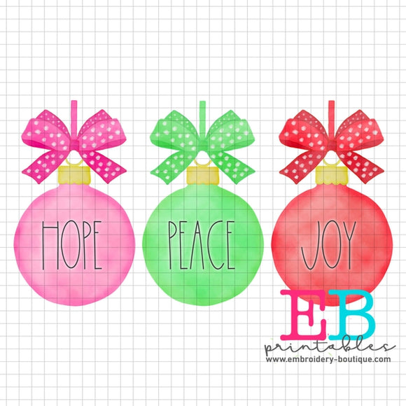 Ornament Trio HPJ Printable Design PNG