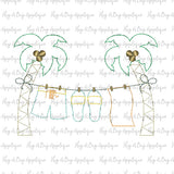 Palm Tree Boy Bean Stitch Applique Design