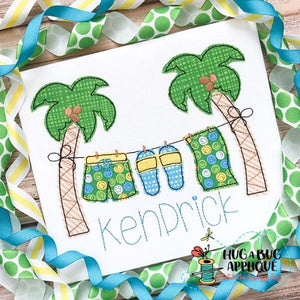 Palm Tree Boy Bean Stitch Applique Design-Embroidery Boutique