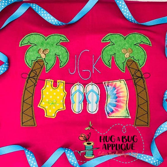 Palm Tree Girl Bean Stitch Applique Design-Embroidery Boutique