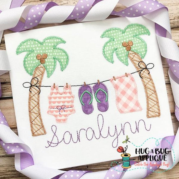 Palm Tree Girl Zig Zag Stitch Applique Design-Embroidery Boutique