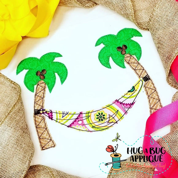 Palm Tree Hammock Bean Stitch Applique Design, Applique