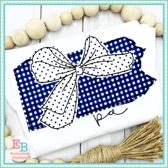 Big Bow Pennsylvania Bean Stitch Applique, Applique