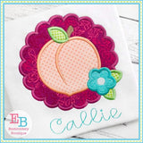 Peach Scallop Satin Applique