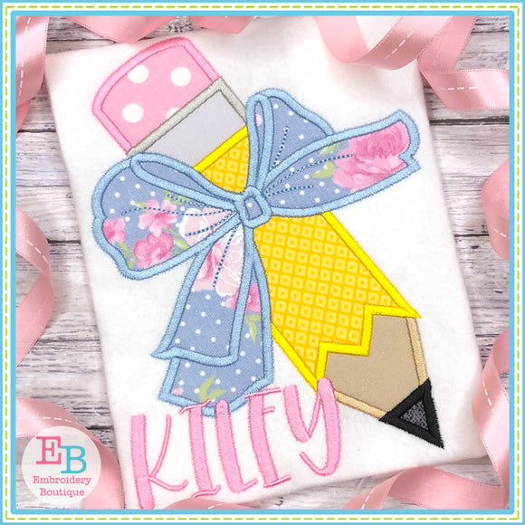 Pencil Big Bow Satin Applique, Applique