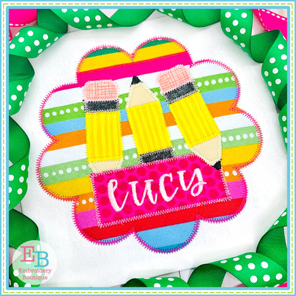 Pencil Name Girl Circle Zigzag Applique, Applique