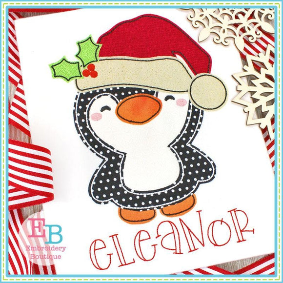 Santa Penguin Bean Applique