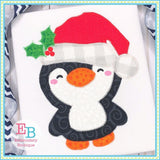Santa Penguin Zigzag Applique, Applique