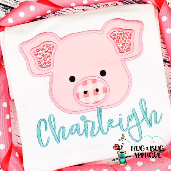 Pig 2 Satin Stitch Applique Design, Applique