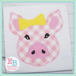 Pig Bow Blanket Stitch Applique - Embroidery Boutique