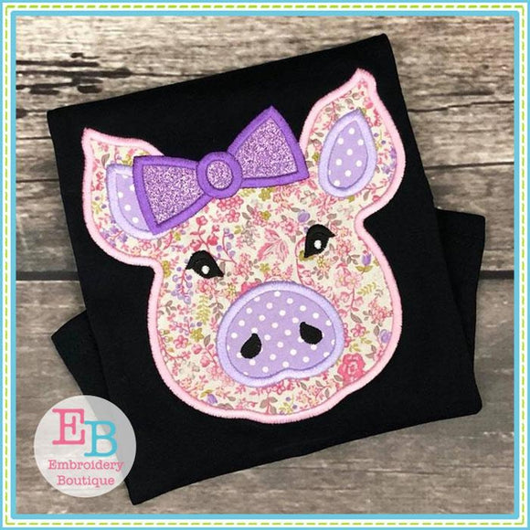 Pig Bow Satin Applique, Applique