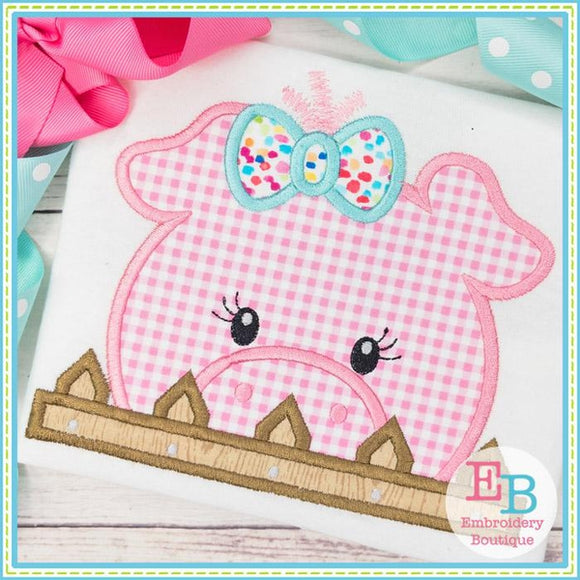Pig Girl Peeker Applique