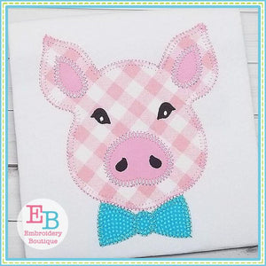 Pig Bow Tie Blanket Stitch Applique - Embroidery Boutique