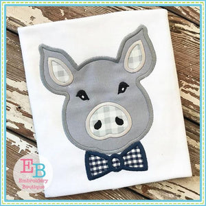 Pig Bow Tie Satin Applique - embroidery-boutique