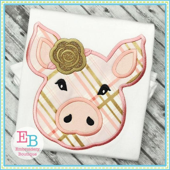 Pig Rose Satin Applique, Applique
