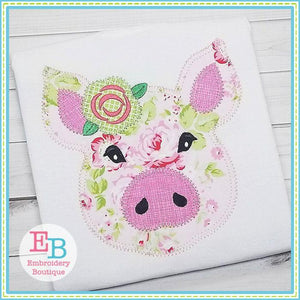 Pig Rose Blanket Stitch Applique, Applique
