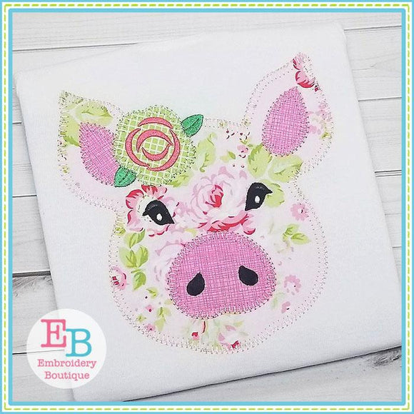 Pig Rose Blanket Stitch Applique - embroidery-boutique