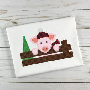 Christmas Pig Zig Zag Stitch Applique Design, Applique