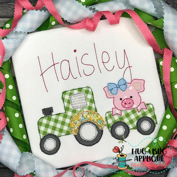 Pig Bow Tractor Bean Stitch Applique Design-Embroidery Boutique