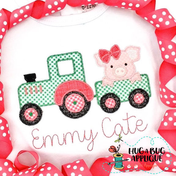 Pig Bow Tractor Zig Zag Stitch Applique Design-Embroidery Boutique