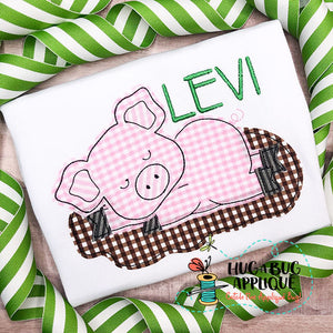 Pig Mud Bean Stitch Applique Design
