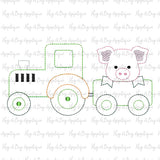Pig Tractor Bean Stitch Applique Design-Embroidery Boutique