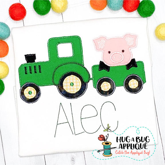 Pig Tractor Zig Zag Stitch Applique Design-Embroidery Boutique