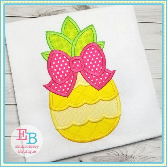 Pinapple Bow Applique - embroidery-boutique