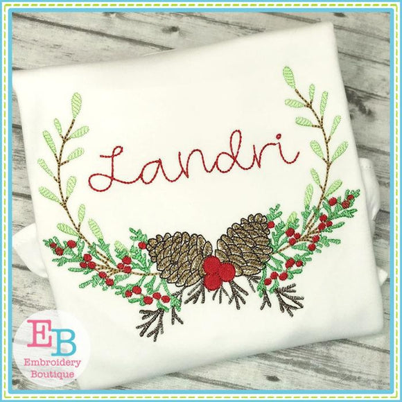 Pinecone Laurel Embroidery Design