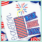 Pop Boom Bam Firework Bean Applique, Applique