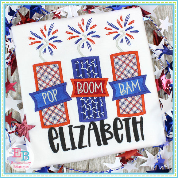 Pop Boom Bam Firework Trio Satin Applique, Applique