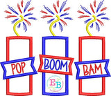 Pop Boom Bam Firework Satin Applique