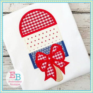 Popsicle Bow Applique - embroidery-boutique
