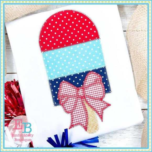 Popsicle Bow Zigzag Applique, Applique