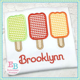 Popsicle Trio Applique, Applique