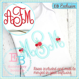 Perfectly Posh Monogram Embroidery Font with Rose Add Ons, Embroidery Font