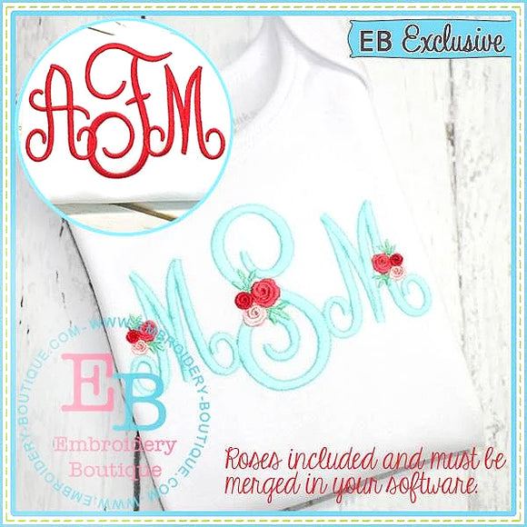 Perfectly Posh Monogram Embroidery Font with Rose Add Ons-Embroidery Boutique