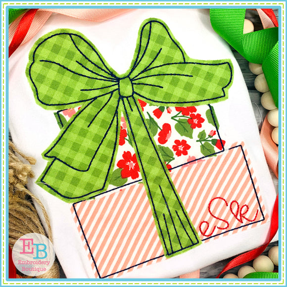 Presents Big Bow Bean Stitch Applique, Applique