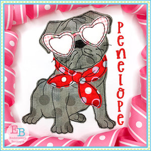 Pug Heart Glasses Bean Stitch Applique, Applique